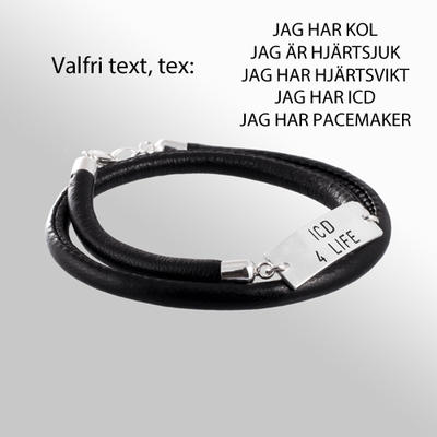 Armband Bricka, med slät läderrem - HJÄRTLUNG